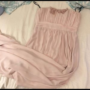 Chiffon Pink Strapless Gown (Full Length)